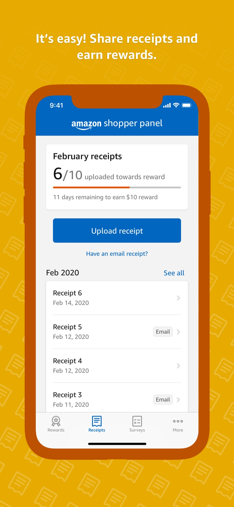 It's easy! Share receipts and earn rewards.